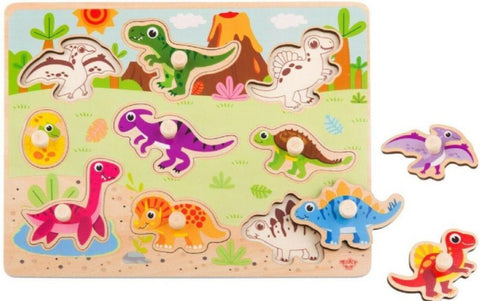 Wooden Dinosaur Peg Puzzle 9pc