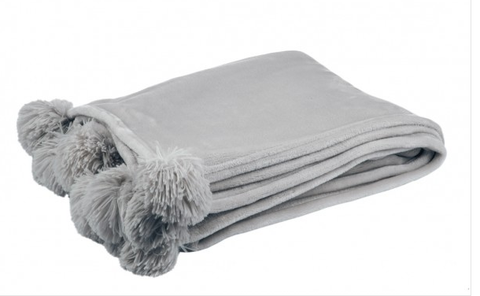 Grey Furry PomPom Blanket