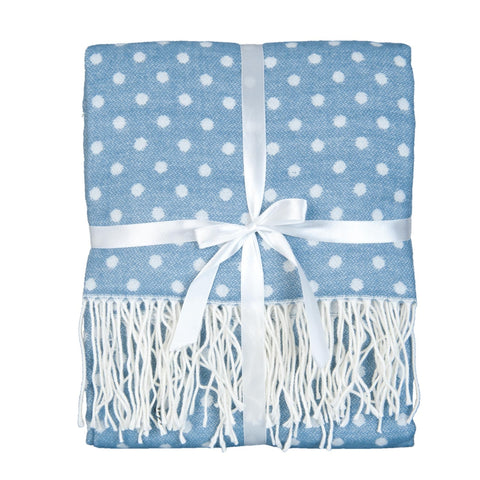 Light Blue Polka Dot Throw