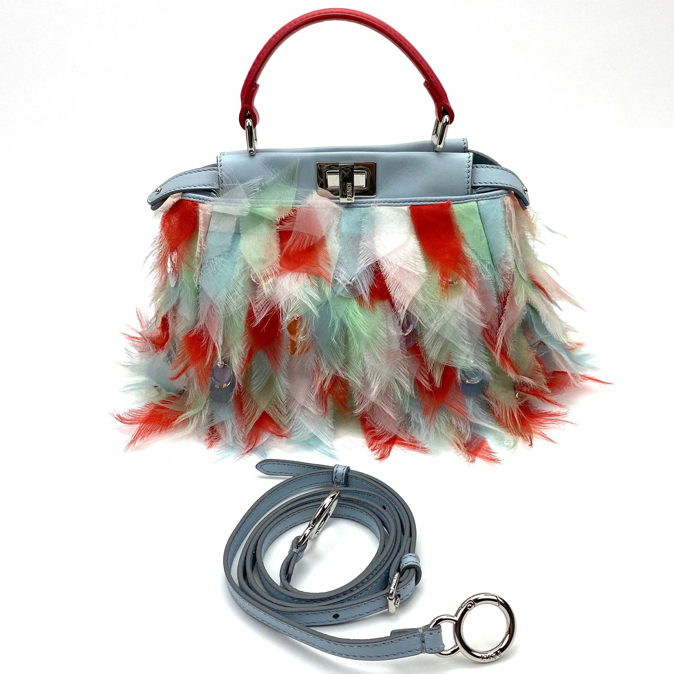 FENDI Embellished Mini Peekaboo Bag