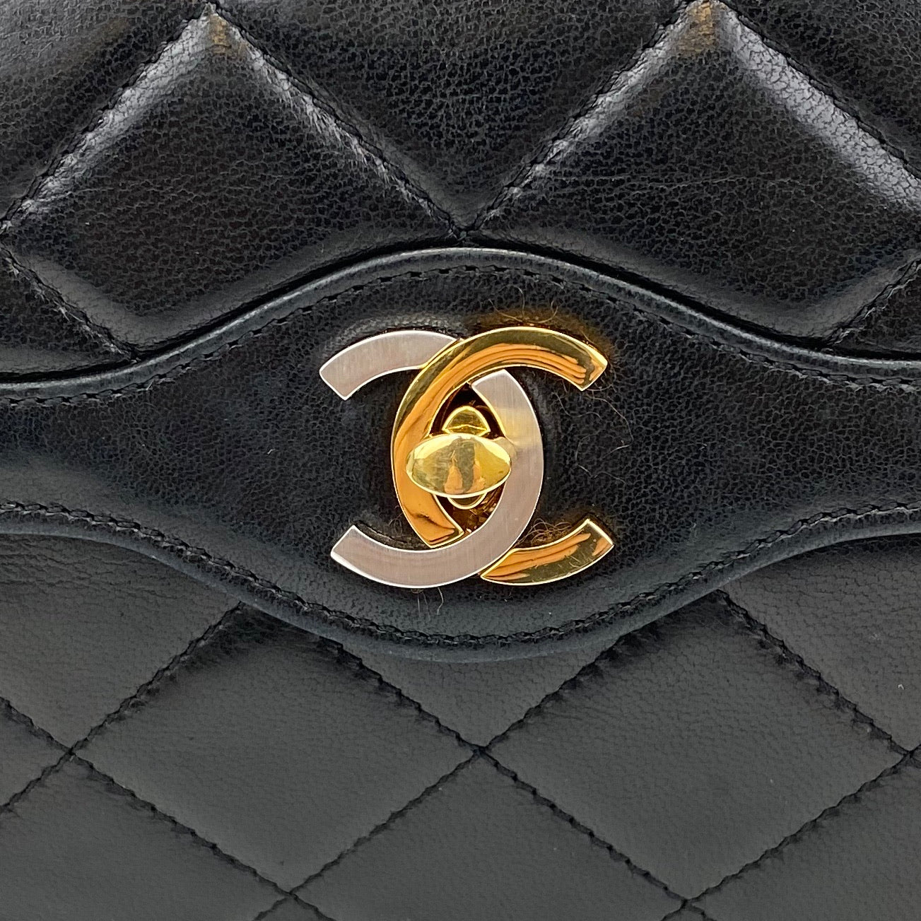 CHANEL Vintage Two-Tone CC Mini Flap Quilted Lambskin