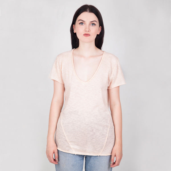 Sennen V-neck T-shirt - Peach - Hawthorn and Co - 1