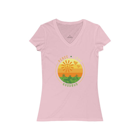 Women's V-Neck Peace, Love, and Goodbud