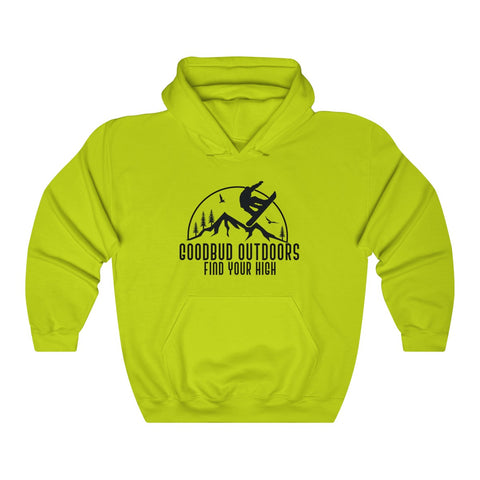 Image of Unisex Heavy Goodbud Outdoors Vintage Snowboarding Hoodie