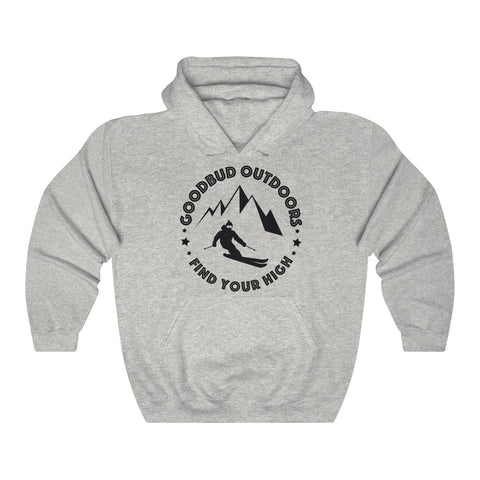 Image of Unisex Heavy Goodbud Outdoors Vintage Ski Hoodie
