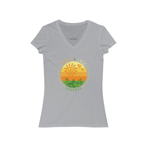 Image of Women's V-Neck Peace, Love, and Goodbud