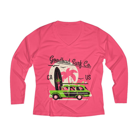 Image of Women's Long Sleeve Performance V-neck Tee Surf Co