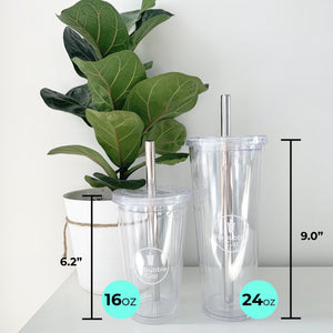 "The regular cup is 6.2"" tall and the large cup is 9"" tall (excluding the straw height)"
