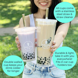 Regular and large size ReBubble Cups are held side by side, containing bubble tea.