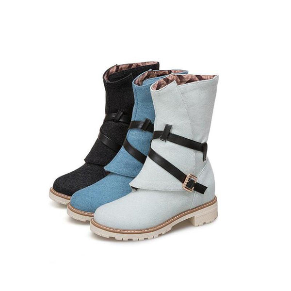 Casual Warm Buckle Low-heel Martin Boots