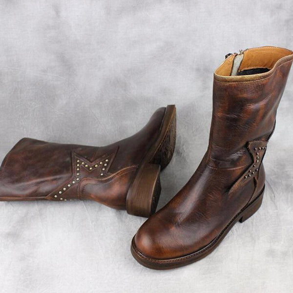 Leather Handmade Low Heel Boots