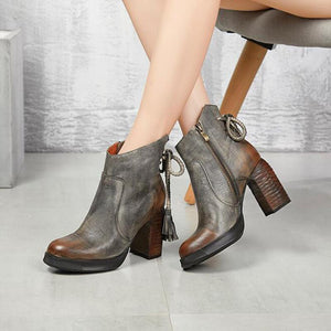 Womens Fringed Side-zipper Chunky Heels Boots