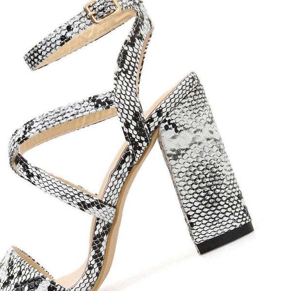 Buckle Chunky Heel Ankle Strap Open Toe Casual Serpentine Sandals
