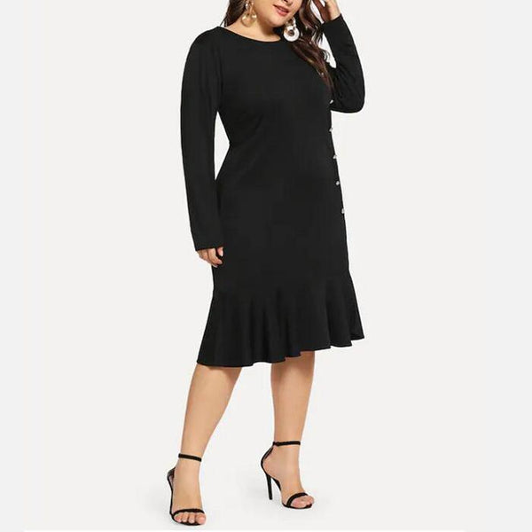 Plus-Size Round Collar Long Sleeves Fashionable Casual Dress