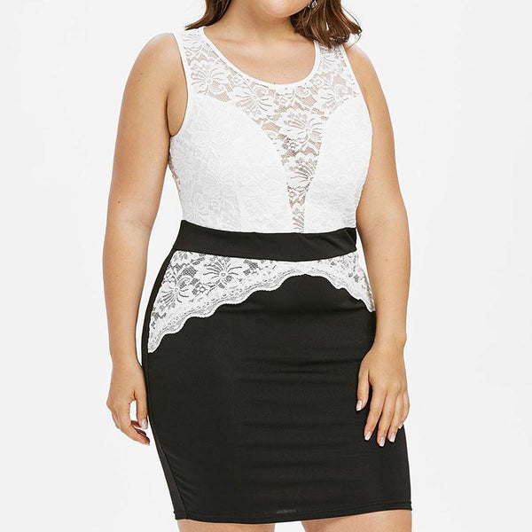 Sleeveless Hollow Lace Perspective Trim Mini Dress