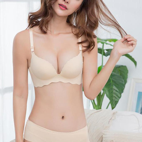 One-piece seamless rimless sexy gathered adjustable bra