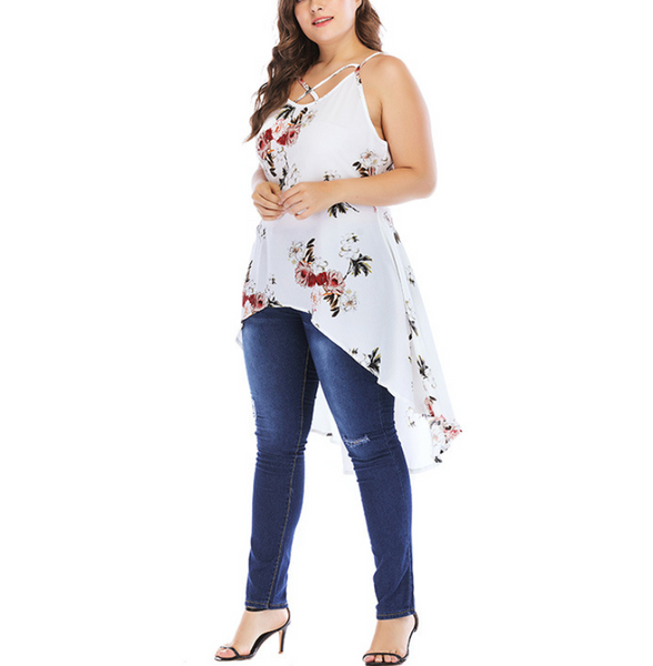 Plus-Size Printed Loose Sleeveless Off Shoulder Sling Blouse