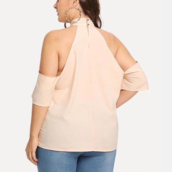Plus-Size Sexy Solid Color Off Shoulder Shirt