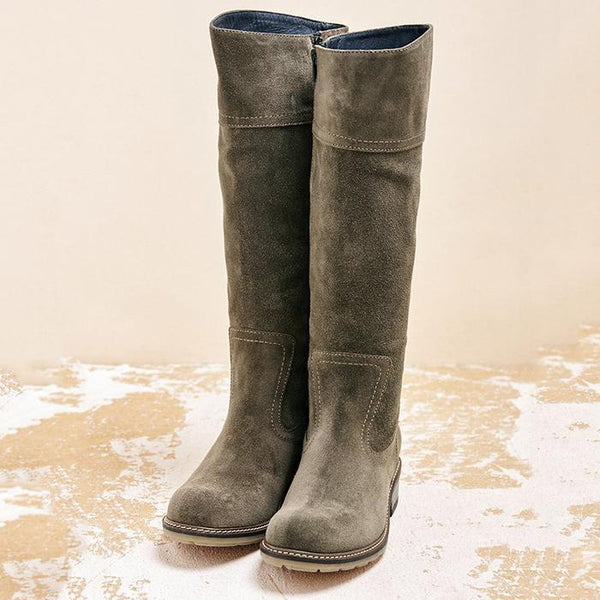 Women Winter Suede Zipper Knee-High Boots