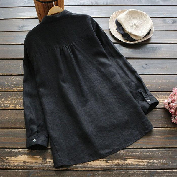 Linen Slanted Cardigan Embroidered Long Sleeve Shirt