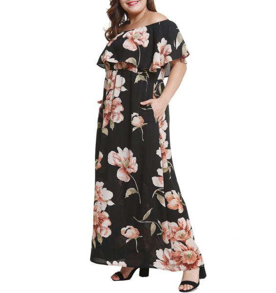 Fashion Large Size Printing Off-The-Shoulder Dress
