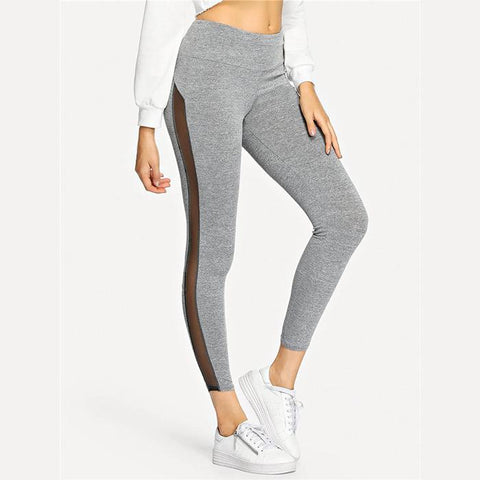 Tight exercise yoga high waist mesh splicing pant