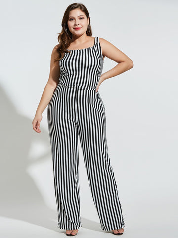 Full Length Backless Color Block Straight Slim Jumpsuit
