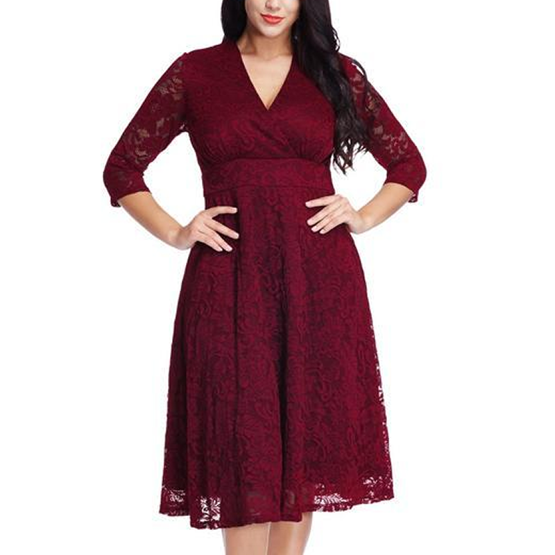 Large Size Cropped Sleeves Lace Dress