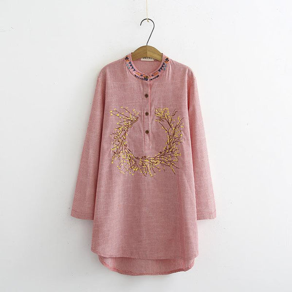 Lage size loose striped embroidered long-sleeved shirt