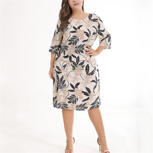 Plus-size casual round neck seven-point sleeve print dress