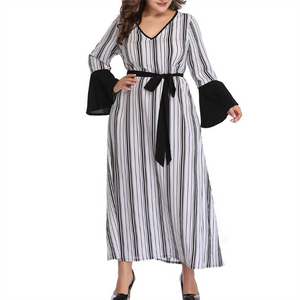 Plus-Size Sexy V-Neck Striped Long Sleeves Dress