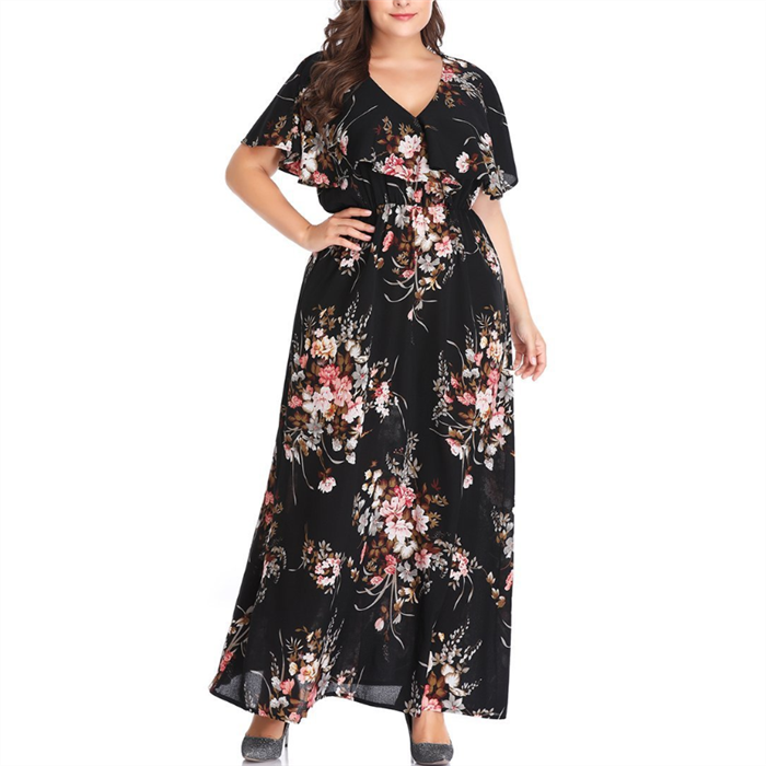 Plus-Size Sexy V-Neck Printed Short Sleeve Dress