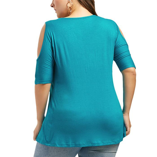 Plus-Size Pure Color V-Neck Lace Splicing Shirt