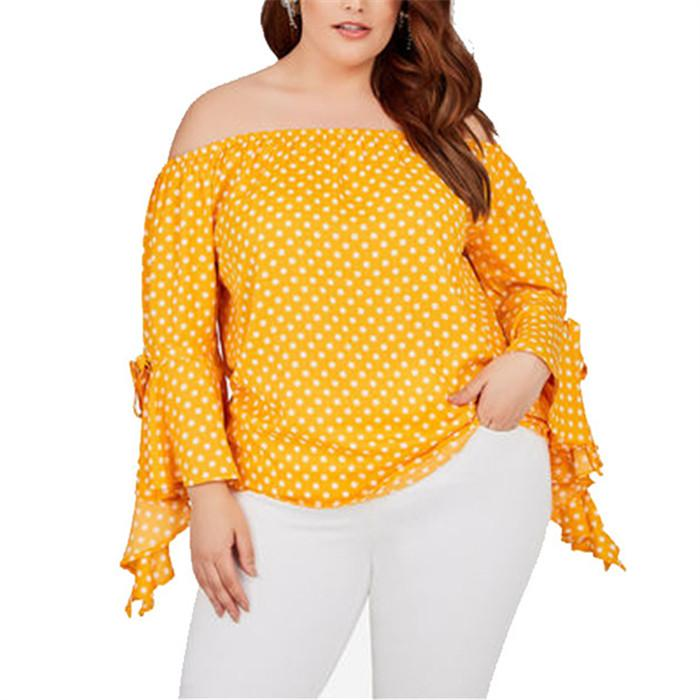 Plus-size sexy polka dot off shoulder shirt