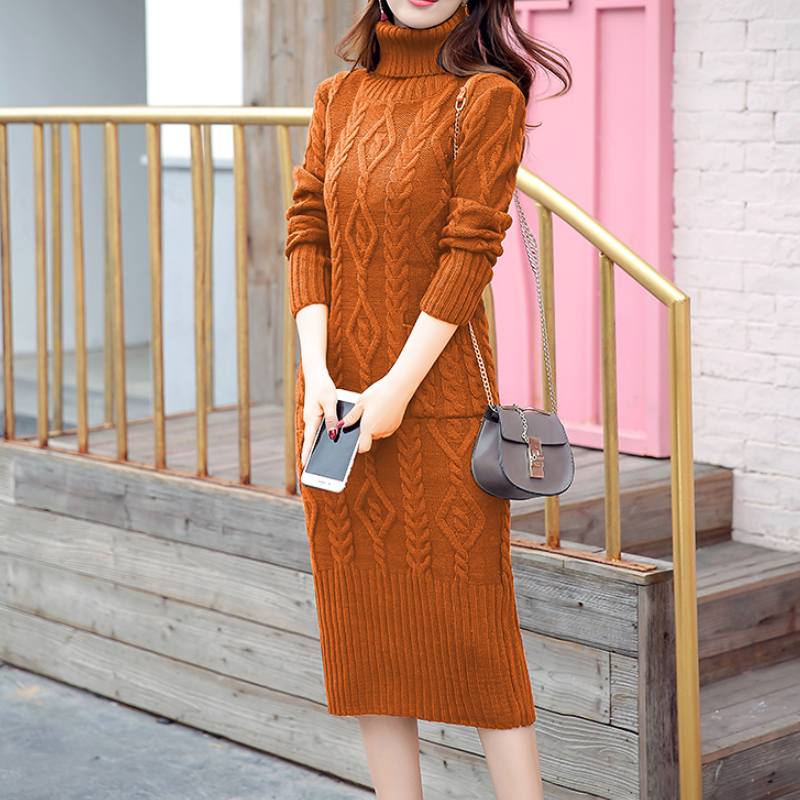 Thickened pure color high-collar knitted casual dress
