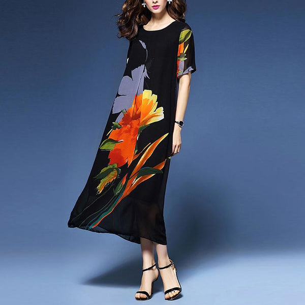 Plus-Size Loose Sleeve Print Dress