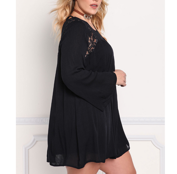 Plus-size lace splicing loose long sleeves dress