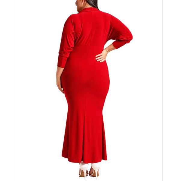 Plus-size sexy deep v high waist long sleeves dress