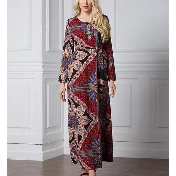 Plus-Size Loose Retro Printing Long-Sleeved Dresses