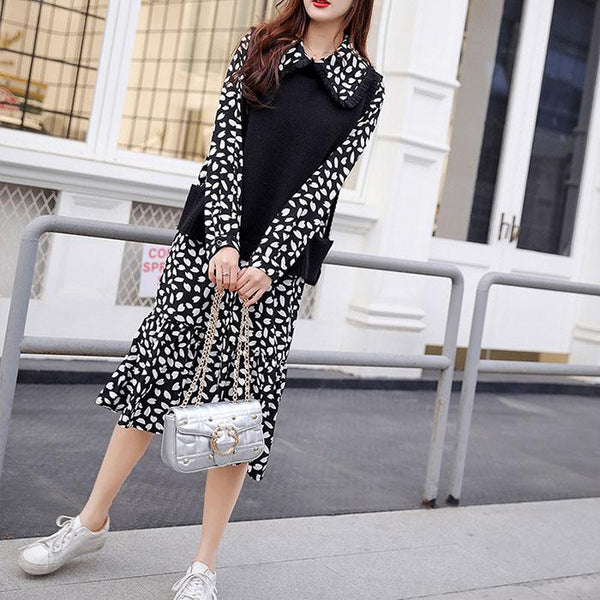 Plus-Size Fashion Sexy Leopard Print Dress Vest Two Piece Suit