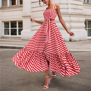 Fashionable Sexy Condole Sling Stripe Dress