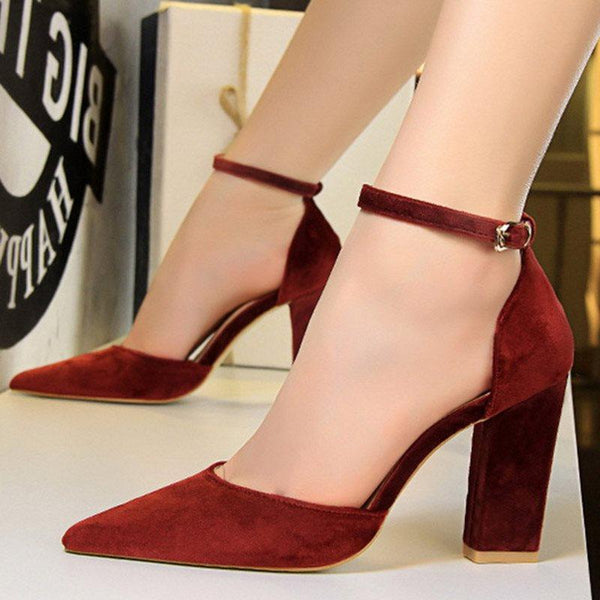 Line-Style Buckle Chunky Heel Pointed Toe 9.5cm Plain Thin Shoes