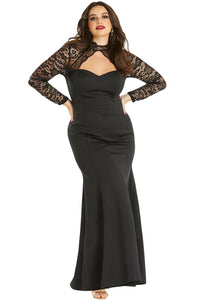 Black Sheer Lace Long Sleeve Plus Size Party Dress