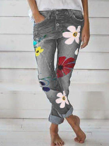 Floral Jeans with Pockets