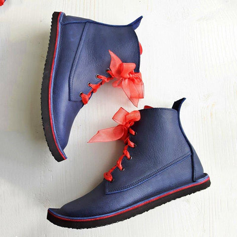 Women  Lace-Up Winter Artificial Leather Boots