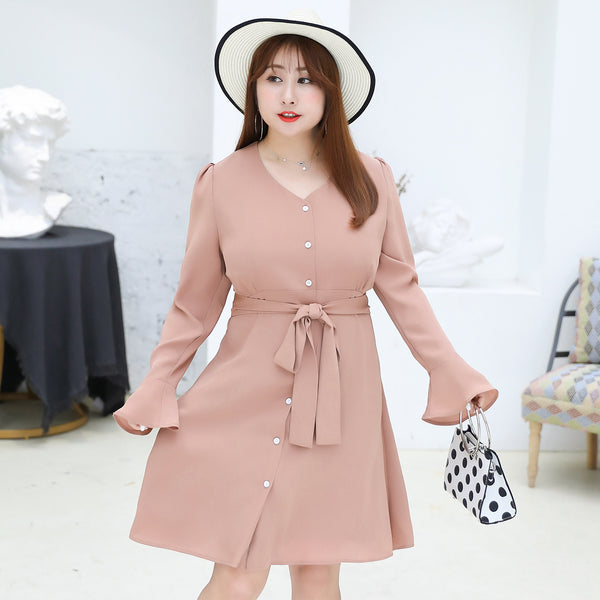2020 New Plus size Spring women midi dresses
