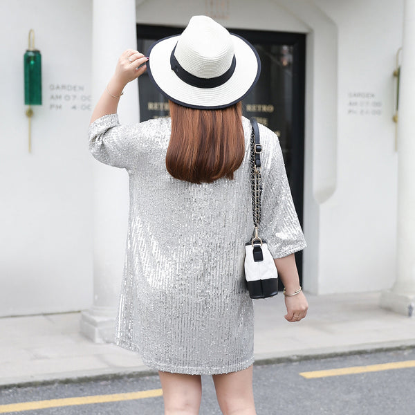 Summer 2020 New Large Size Women's Ins Long Loose Sequined T-shirt