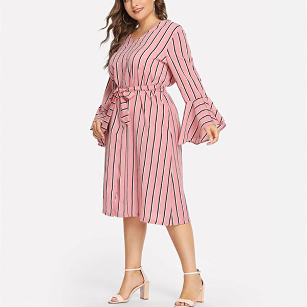 Plus-size fashionable striped long sleeves dress