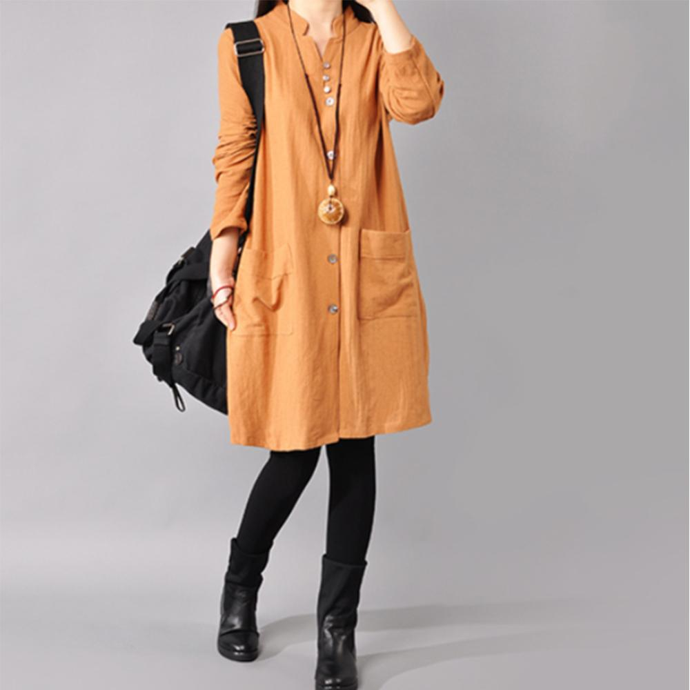 Cotton And Hemp Long Sleeve Pure Color Shirt Dress