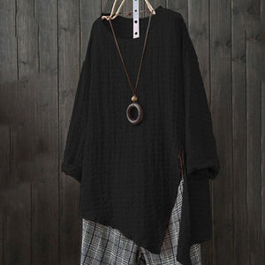 Round Neck  Loose Fitting Side Vented  Checkered Blouse